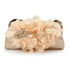 Floral satin Clutch with Kiss Lock Closure and Detachable Chain, Quality Unique Handbags Bridal Handbags, Wedding Clutch, Bridal Clutch, Purple Bags, Satin Flowers, Clip, Clutch Purse, Purses And Handbags, Purple