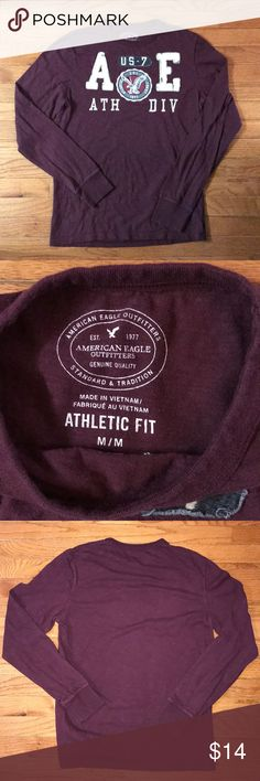 American Eagle Long Sleeve T Shirt Medium American Eagle Athletic Fit Size Medium Long Sleeve Rich Burgundy Color Excellent Condition  From my smoke free home. American Eagle Outfitters Shirts Tees - Long Sleeve