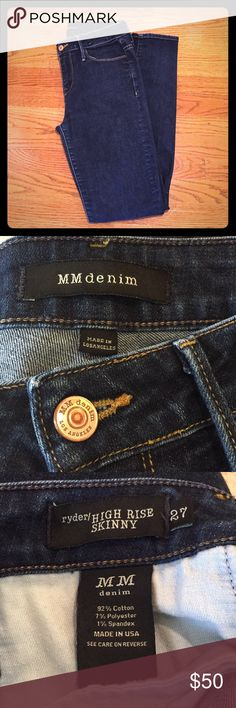 MM Denim Ryder High Rise Skinny Jeans In excellent condition. Purchased at Neiman Marcus.  High rise, dark wash, classic skinny jeans with zip fly and button closure. Very soft. MM Denim Pants Skinny