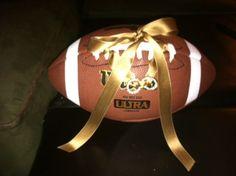 football ring bearer pillow.. err football. Cute for a fall wedding