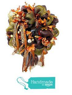Fall Deco Mesh Wreath Fall Bird Leaves Berries Leopard Orange Bow Metallic Brown Fall Green Mesh from Heart to Heart Creations https://www.amazon.com/dp/B01IMJOPYM/ref=hnd_sw_r_pi_dp_WMoNxbR1T8PKD #handmadeatamazon