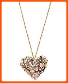 Betsey Johnson Happy Pretty Pink Rhinestone Heart Long Necklace - All about women (*Amazon Partner-Link)