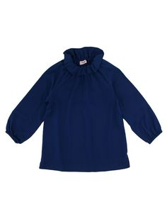 Saphire blue girls blouse with satin look from Il Gufo