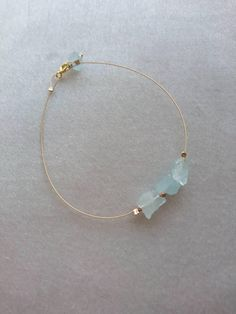 By DarlingGolightly, raw aquamarine and rose gold bracelet, dainty jewellery, gift for her, march birthstone
