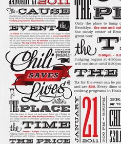 Chili Saves Lives - love the combinations of fonts here