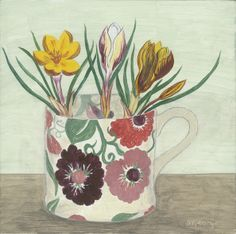 Debbie George 'Zinnia mug and crocus' www.debbiegeorge.co.uk Inspired by an Emma Bridgewater mug.