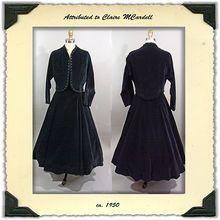 ca. 1950's Black Velveteen Dress with Bolero Jacket