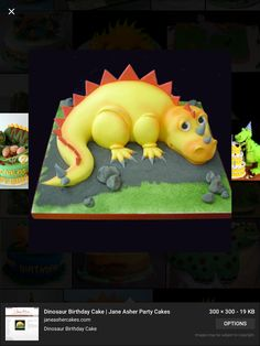 Yellow dinosaur cake