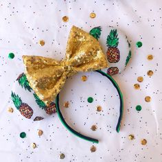 Pineapple Mouse Ears by DesperateDesignEars on Etsy https://www.etsy.com/listing/516988300/pineapple-mouse-ears