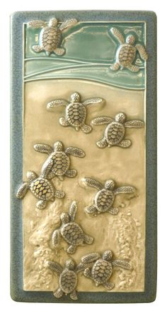 Art tile, Ceramic wall art, Leaving the Nest, 8 inches Baby Green sea turtles by MedicineBluffStudio on Etsy Sculptures Céramiques, Art Sculpture, Sculpture Ideas, Ceramic Wall Art, Ceramic Clay, Vitromosaico Ideas, Tuile, Creation Deco, Clay Tiles