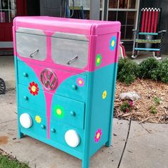 Whimsical hand painted children's dressers for boys and girls. Harlequin, bright colors, black & white checkerboards. Custom orders. Flowers, characters ...