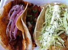 Mayan Cochinita Pibil Taco, Carnitas Street Taco, Baja Sur Dogfish Shark Taco