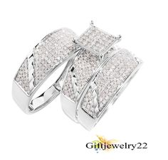 10K White Gold Over 2.62 Ct Diamond Trio Bridal His & Her Wedding Ring Band Set #giftjewelry22