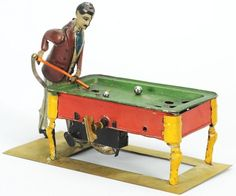 Tin Litho Pool Player Wind-Up Toy.
