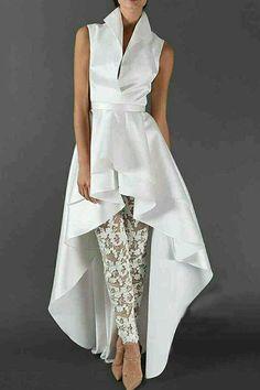 Asymmetric Plain Stand Collar Long Women's Blouse