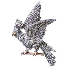 French Diamond Naturalistic Silver and Gold Cockatoo Brooch  circa 1850