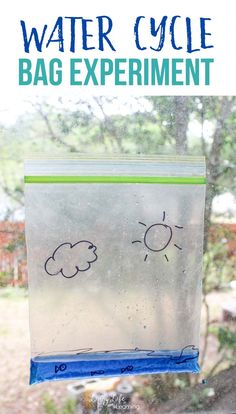 Learn more about the water cycle - This water cycle bag experiment will show how the water cycles from our lakes to the clouds in a visual way for kids. Water Cycle Activities, Weather Activities For Kids, Kindergarten Science Activities, Homeschool Science Curriculum, Kids Learning Activities, Science For Kids, Earth Science, Homeschooling, Teaching Weather