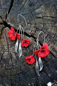 polymer Clay earrings, fimo poppy flower earrings, masa flexible, cold porcelain, masa francesa, porcelana fria, porcellana freda