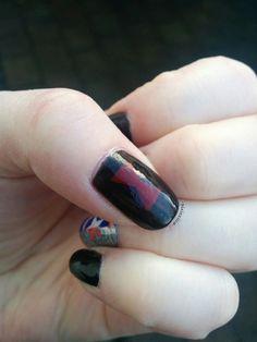 Black Widow nail art using striping tape #BlackWidow #nailart #comics #geeknails #nerdnails