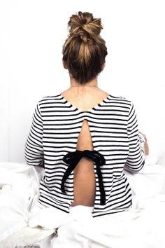 Pull ANCHOR marinière dos ouvert avec nœud