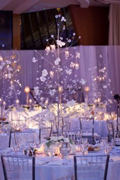 My EventSuite - An Enchanted Winter Forest Wedding on New Years Eve. I actually like this centerpieces.