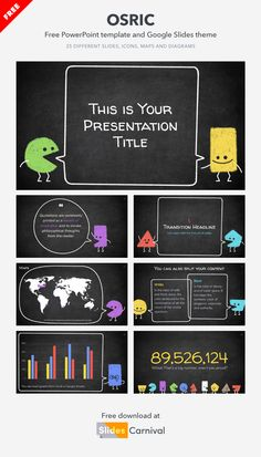Teach your next lesson and engage your students from minute one with this fun free presentation template. This design features geometric characters with a doodle style over a blackboard background. This theme is great for a lesson on geometry, but the truth is that these chalk chaps could present any topic. Good Presentation, Presentation Templates, Create Your Own Character, Philosophical Thoughts, Best Templates, Geometry, Quotations, My Design, Students