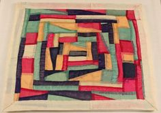 Green, Red, Back, Gold - circling out from the center in strips.   bojagi korean wrapping cloth