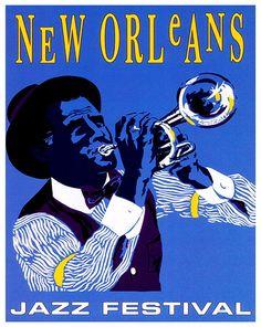 New Orleans Retro Poster Jazz Travel Art Home by Blivingstons