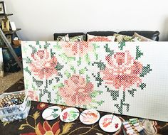 Hello, friends! I have had so many people email me about the cross stitch wall art I shared on Instagram, I thought I better throw together a tutorial. Luckily, I took photos with my phone as I made it.