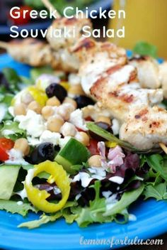 Greek Chicken Souvlaki Salad