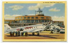 United Airlines Mainliner Plane La Guardia Airport New York City linen postcard #11Main