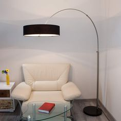 Buy Shing fabric floor lamp with a black lampshade at Lights. Arc Lamp, Arc Floor Lamps, Luminaire Led, Led Lampe, Lamp Light, Light Bulb, Fabric Lampshade, Halogen Lamp, Overhead Lighting