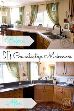 Concrete Countertop DIY Concrete Countertop Yes, please! Great DIY countertop makeovers that are doable and affordable! - Don't spend a fortune on new countertops! Try out one of these nine affordable DIY countertops and do your own countertop makeover! Diy Concrete Countertops, New Countertops, Countertop Paint, Backsplash, The Doors, Kitchen Redo, Kitchen Remodel, Kitchen Renovations, Open Kitchen