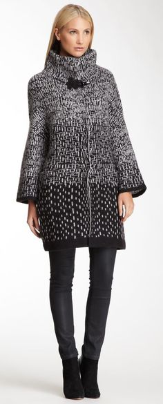 Emporio Armani Mixed Print Wool Blend Coat