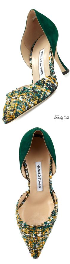 Manolo Blahnik Taylerbi Tweed d'Orsay Pump in Green/Gold