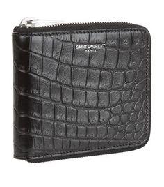 c1c88ac69b SAINT LAURENT Croc Embossed Zip-Around Wallet. #saintlaurent #bags #leather  #wallet #accessories #