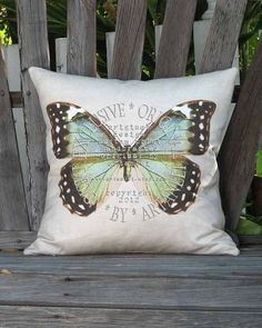 Butterfly Pillow Vintage Blue and Green Butterfly by artanlei