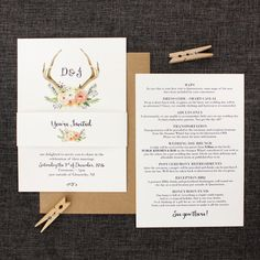 Pretty Deer Antlers and Flowers Wedding Invitation and Stationery