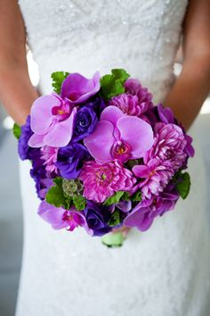 Fuchia Phaels, Purple Anemones, Hot Pink Dahlias