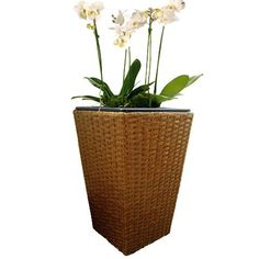 Hand-woven plastic rattan over metal frame and includes plastic liner with removable drain plug for indoor or outdoor use. Available in three sizes and four colors (tan shown here). Rattan Planters, Drain Plugs, Hand Weaving, Indoor, Plastic, Metal, Colors, Frame, Interior