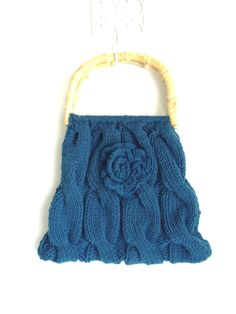 Dark Teal Turquoise Knitted Handbag with Bamboo handles in Cable pattern with Crocheted Flower.  OOAK bag.