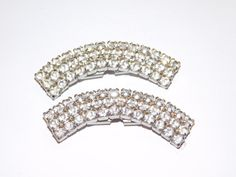 Vintage clear rhinestone Shoe clips by Eosophobish on Etsy