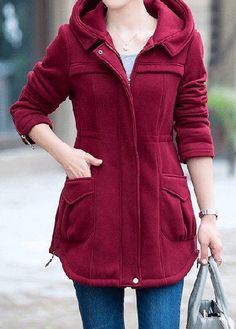 #rotita.com - #unsigned Zipper Embellished Long Sleeve Wine Red Coat - AdoreWe.com