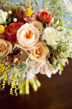 a stunning bouquet and lush centerpieces
