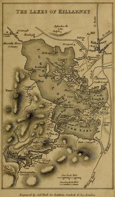 The Lakes of Killarney, an antique map. Daniel O'connell, Vintage Maps, Travel Scrapbook, Guide Book, Family History, Genealogy, Ireland, The Past, Lakes