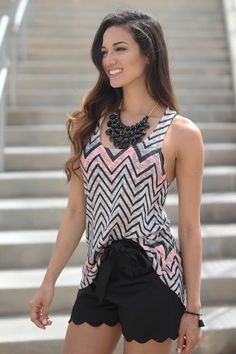 peach and black chevron tank top - medium.... I'll take the shorts, too..... Once I shed a human and loose 50 lbs.