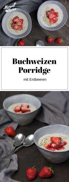 Rezept für den etwas anderen Porridge aus Buchweizen. Den gibt's mit Kokosmilch und Erdbeeren.