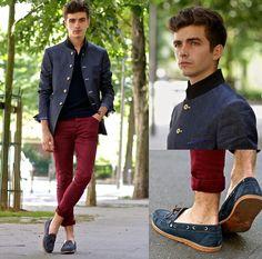 Cavalier Bleu Mao Collar Jacket, Dries Van Noten Sponge Polo, Asos Skinny Jeans, Pepe Jeans Two Tone Boat Shoes