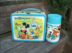 Vintage 1970's WALT DISNEY Lunch Box with Thermos. $8.00, via Etsy.