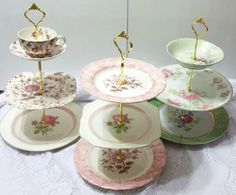 Entertaining With Coming Up Roses Is A Three Tier Serving Stand With Antique dishes. $95.00, via Etsy.